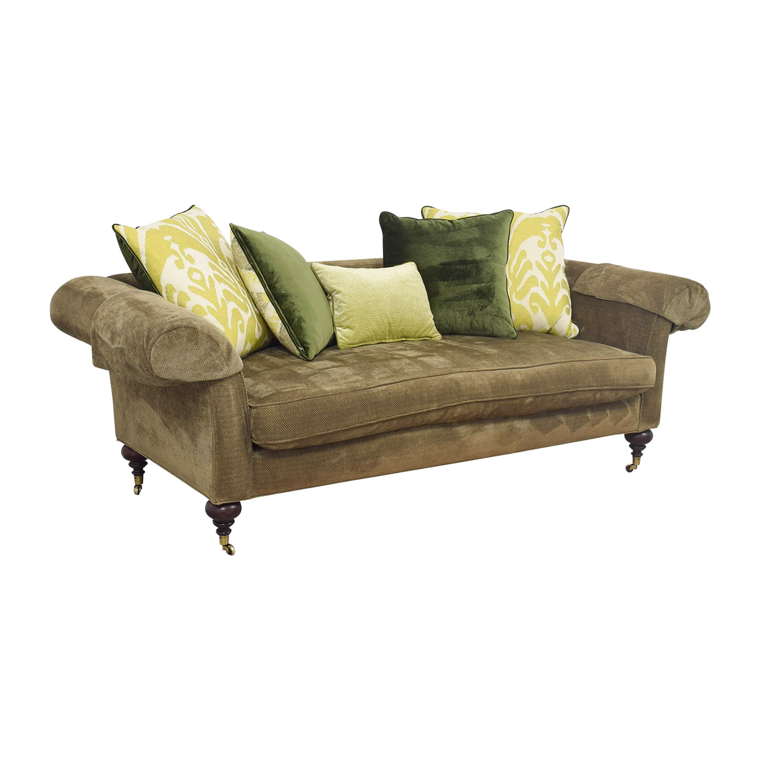 Lee Jofa Green Single Cushion Sofa On Castors