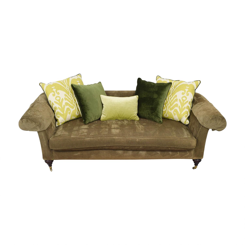 Lee Jofa Green Single Cushion Sofa on Castors / Classic Sofas