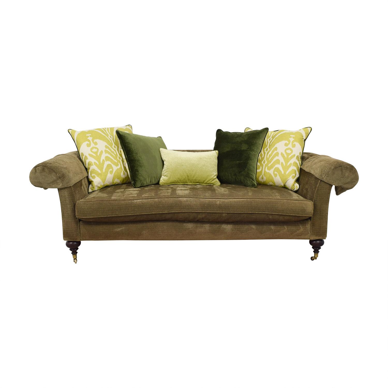shop Lee Jofa Green Single Cushion Sofa on Castors Lee Jofa Classic Sofas