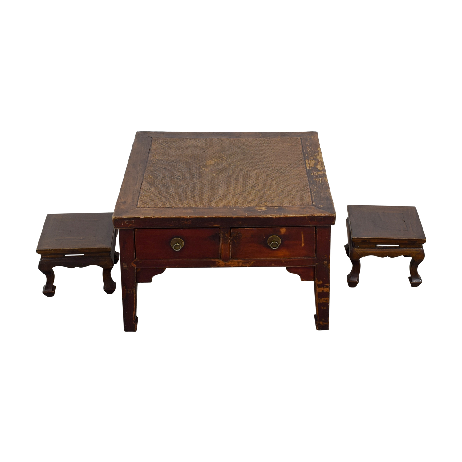 Antique Coffee Table with Two Stools sale