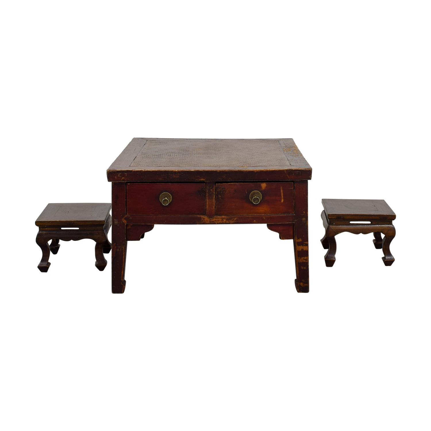 Genial 90% OFF   Antique Coffee Table With Two Stools / Tables