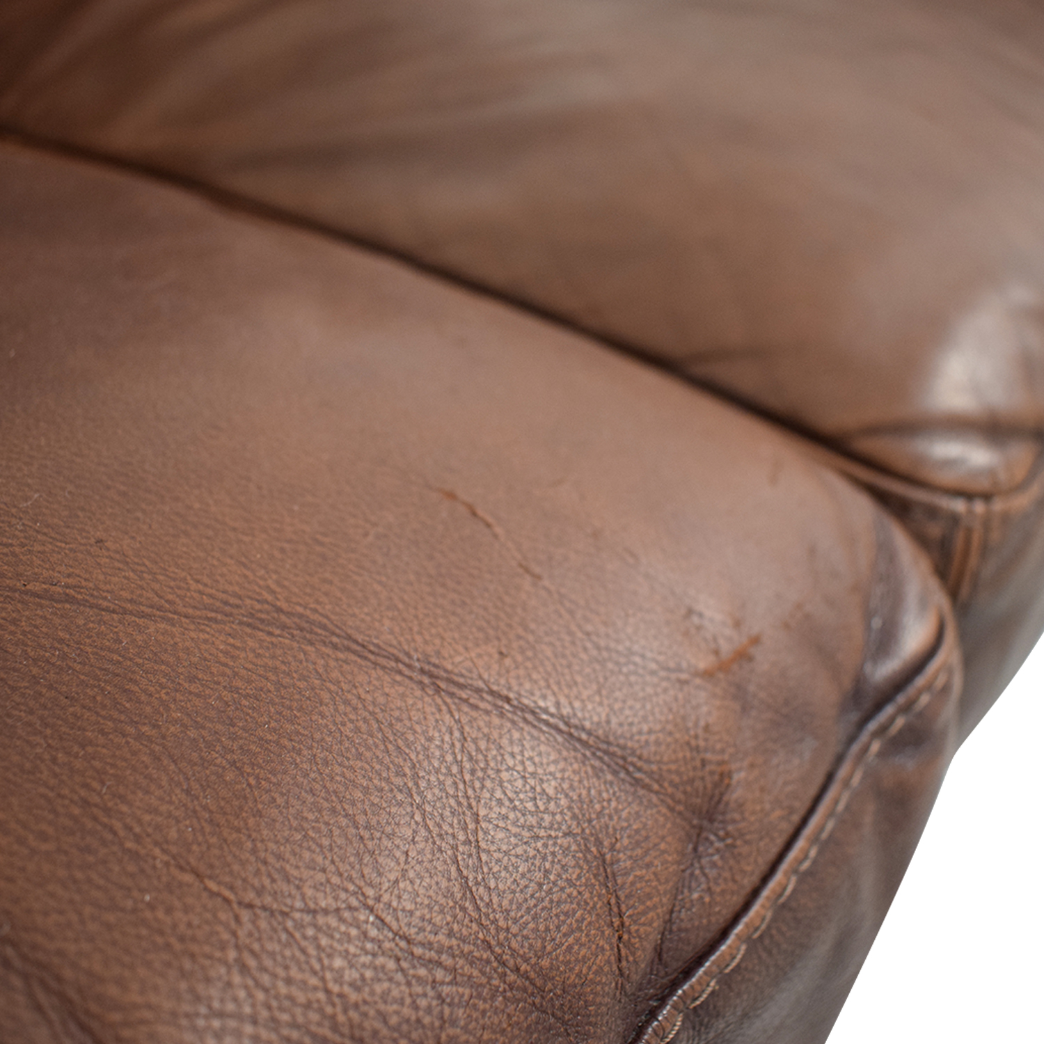 Macy's Macy's Brown Leather Two-Cushion Loveseat used