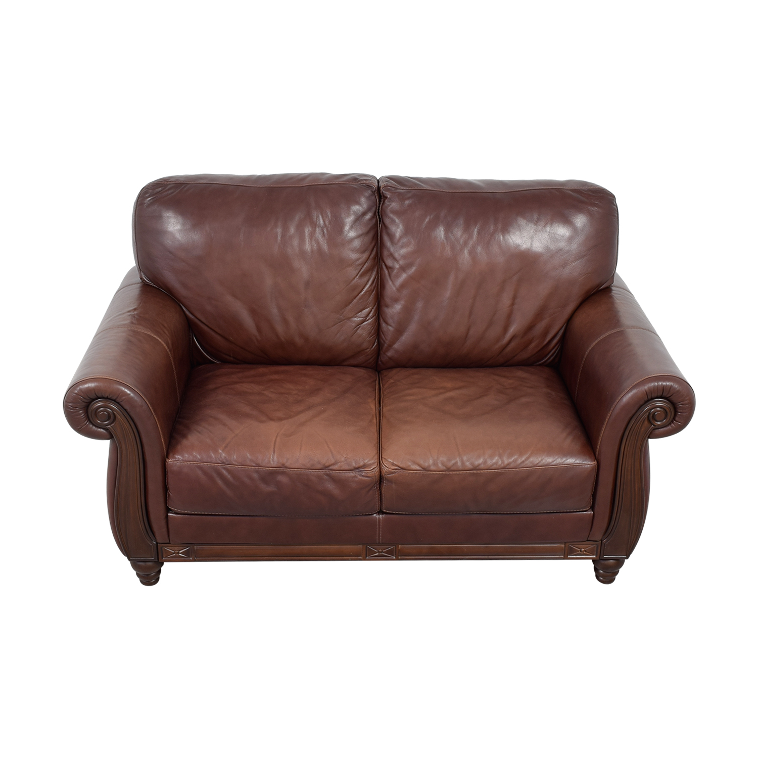 Macy's Macy's Brown Leather Two-Cushion Loveseat