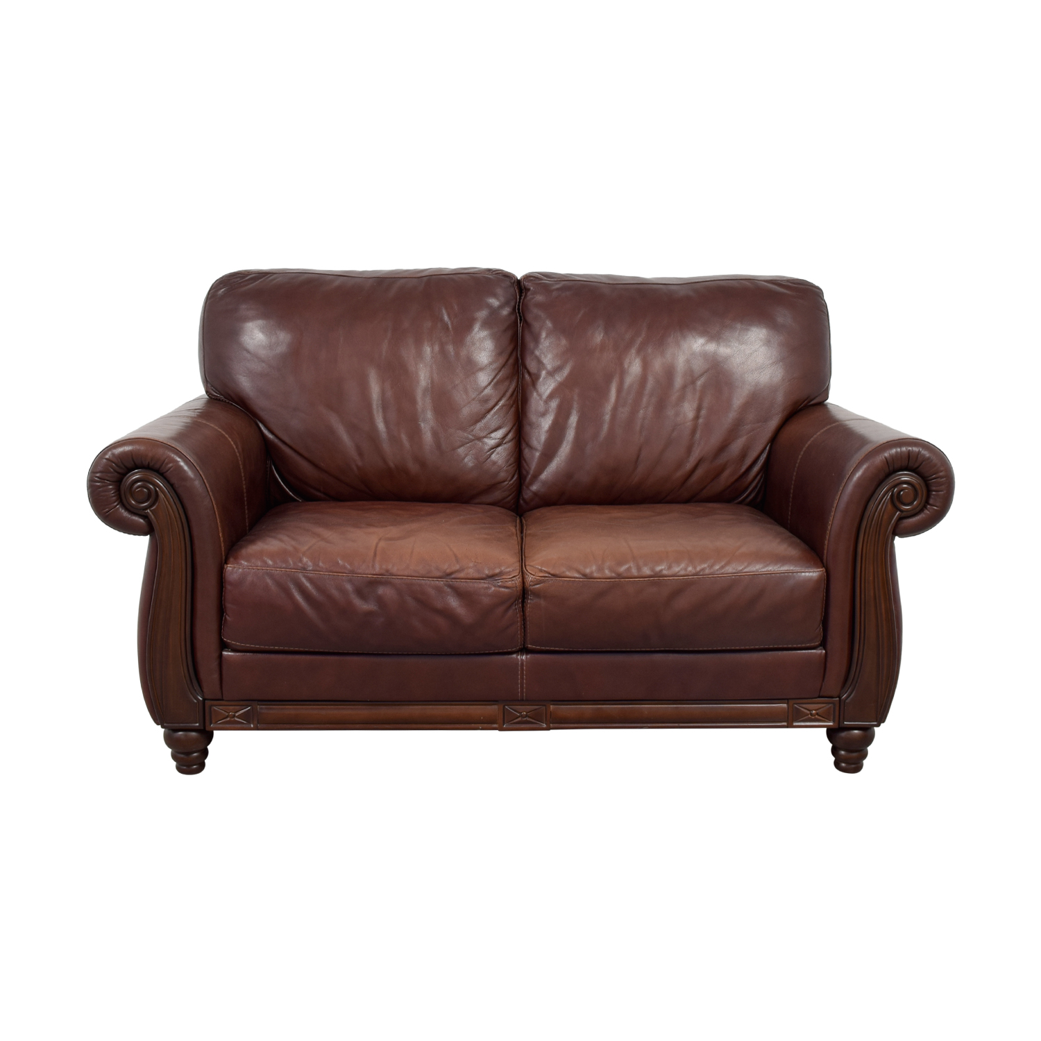shop Macy's Brown Leather Two-Cushion Loveseat Macy's Loveseats