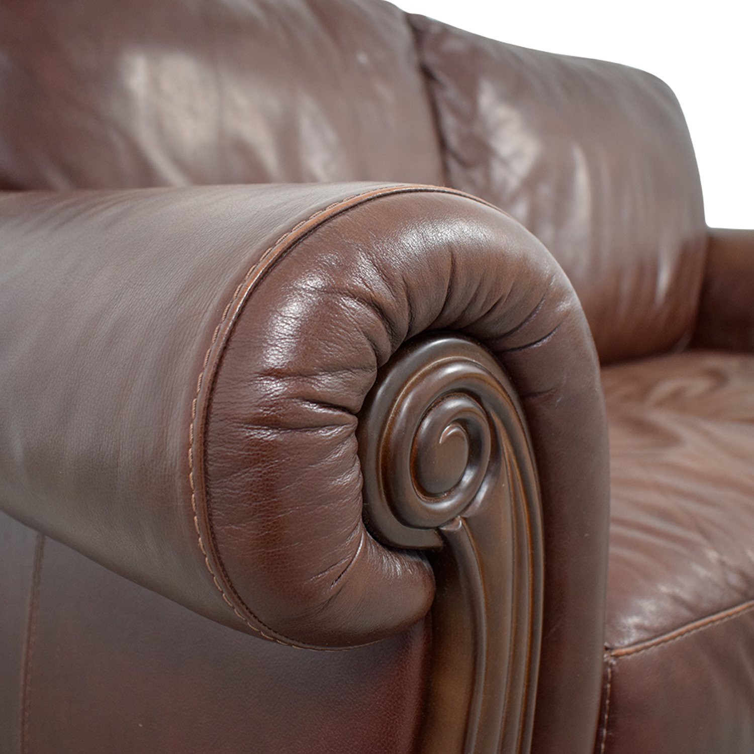 Macy's Macy's Brown Leather Two-Cushion Loveseat nyc