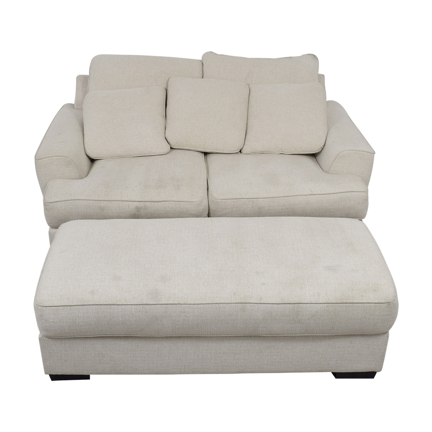 shop Macy's Ainsley Off White Loveseat and Ottoman Macy's