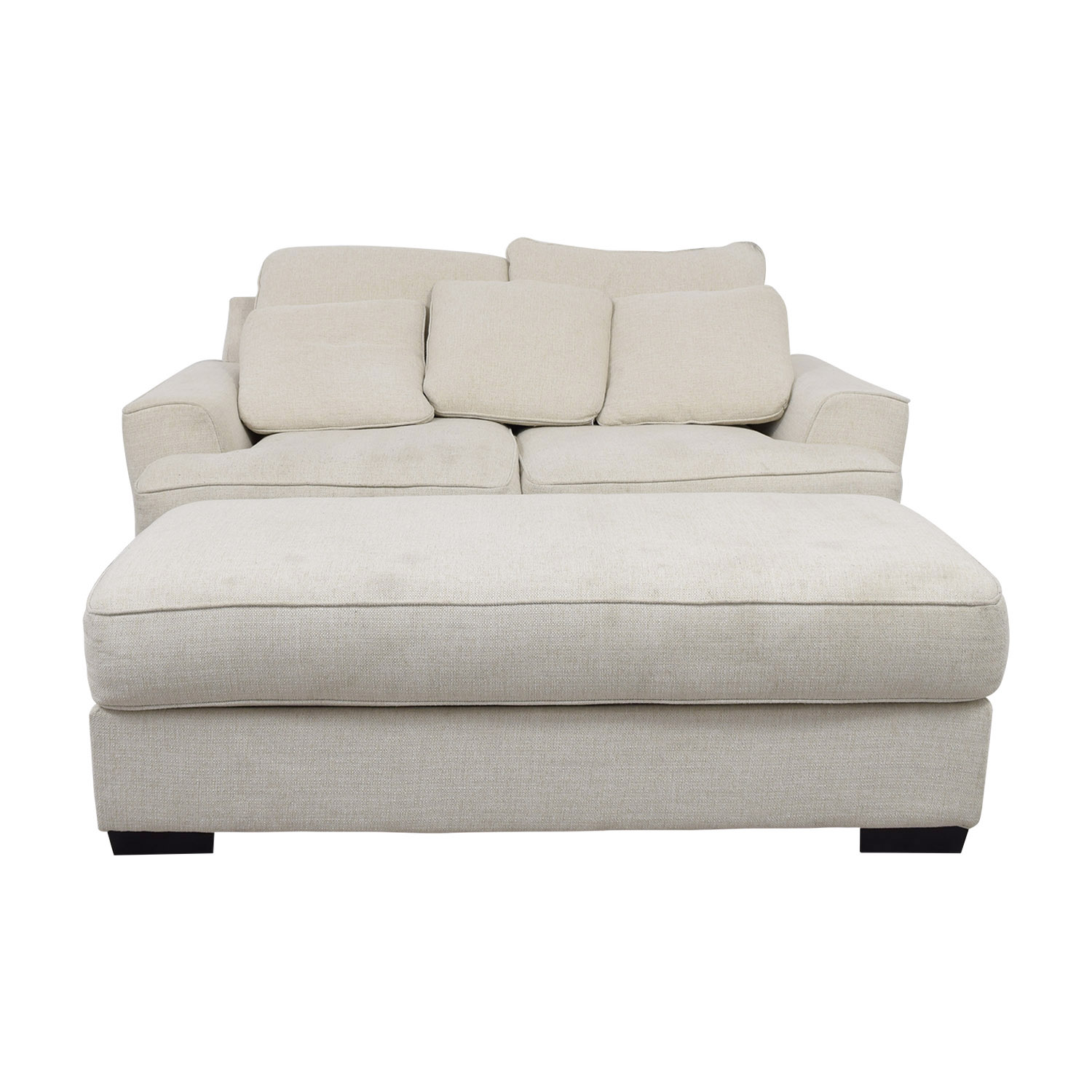 Picture of: 90 Off Macy S Macy S Ainsley Off White Loveseat And Ottoman Sofas