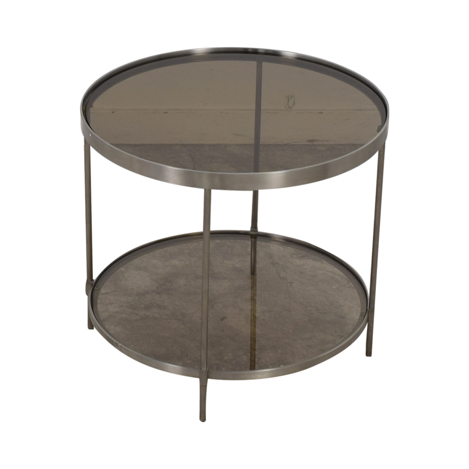 Round Glass and Chrome End Table nyc
