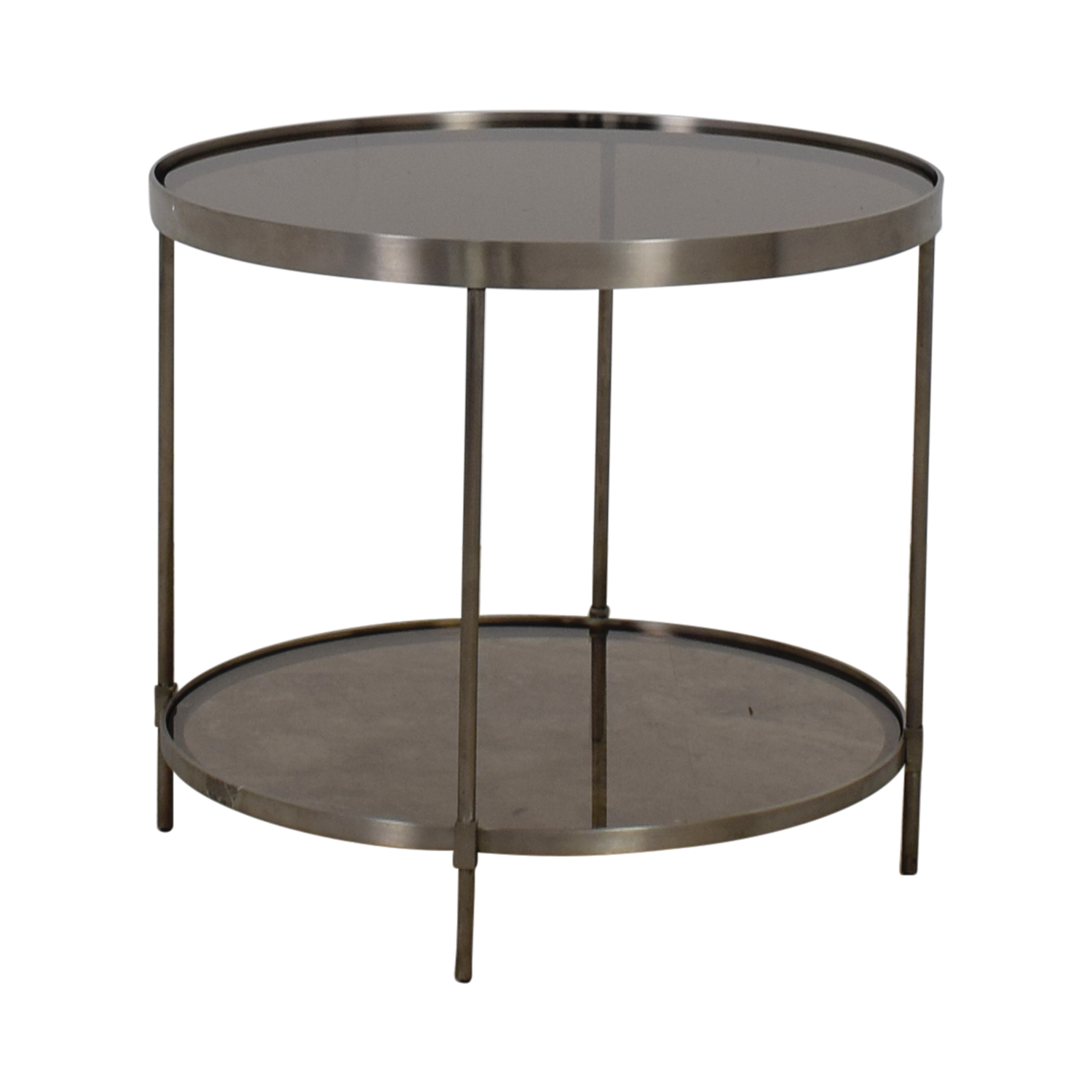 shop Round Glass and Chrome End Table  Tables