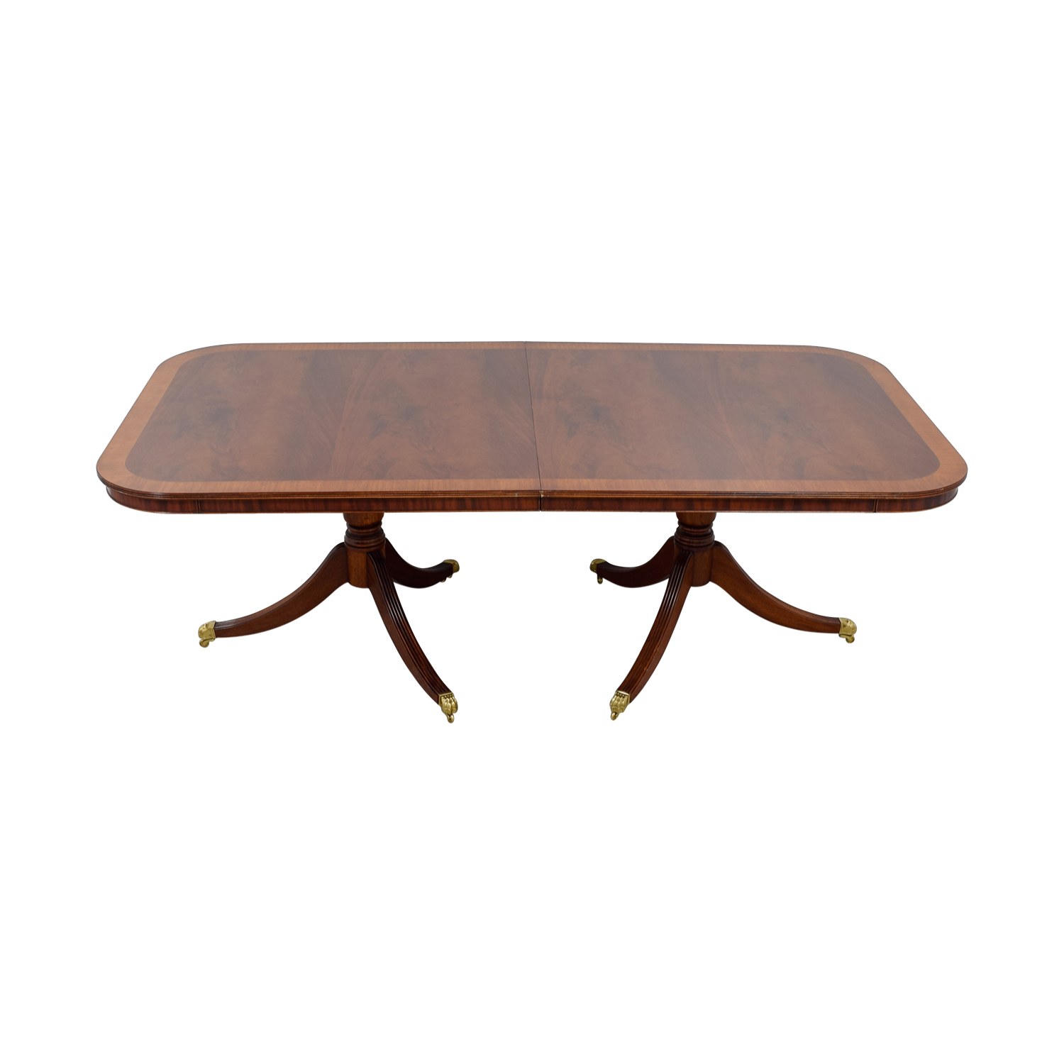 Polished Wood Dining Table with Gold Feet / Tables