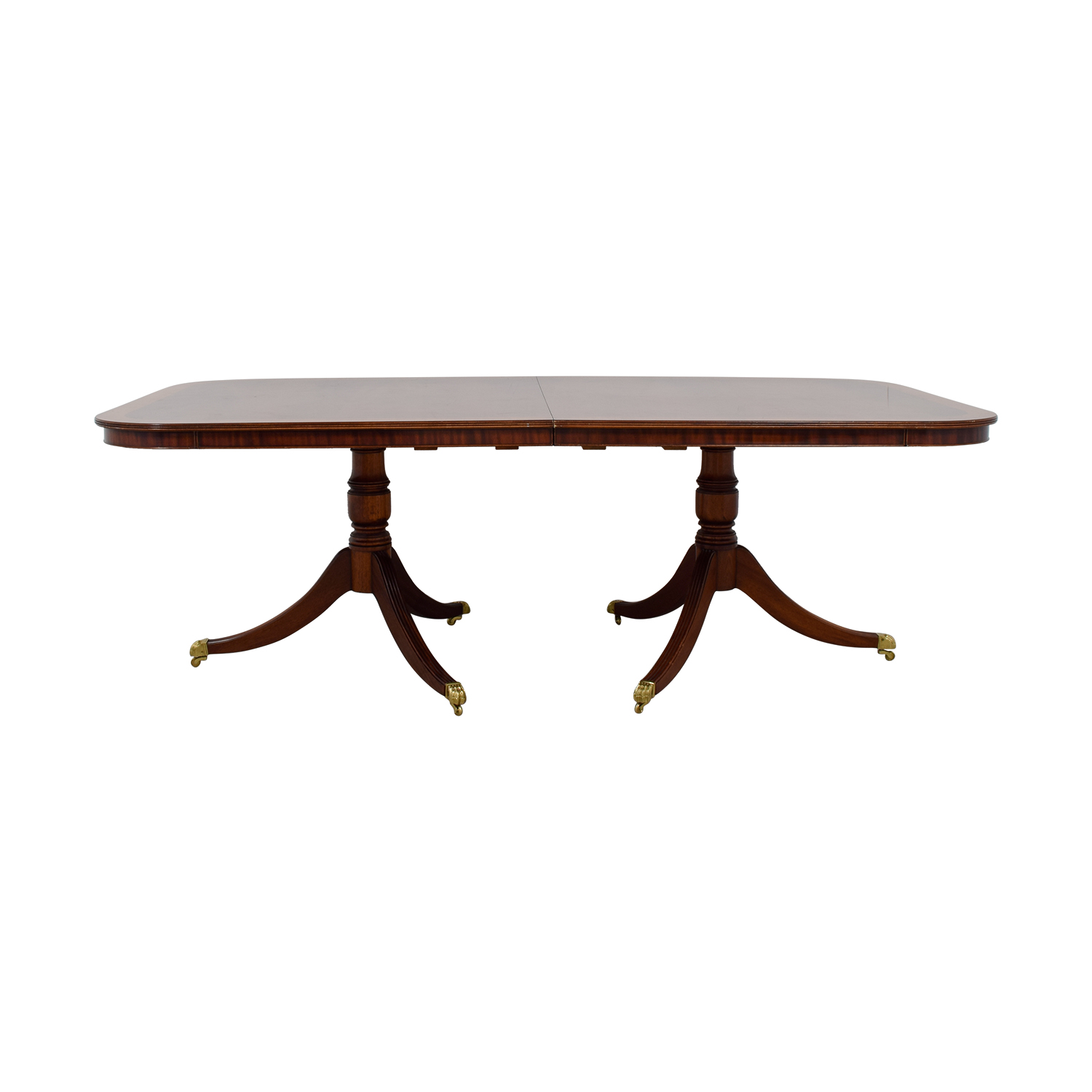 Polished Wood Dining Table with Gold Feet second hand
