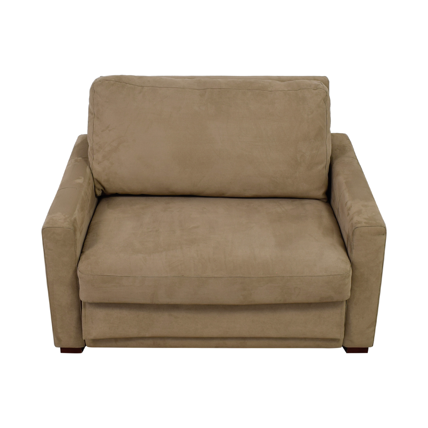 Comfort Sleepers Beige Accent Sofa Chair With Pullout Sleeper Loveseat