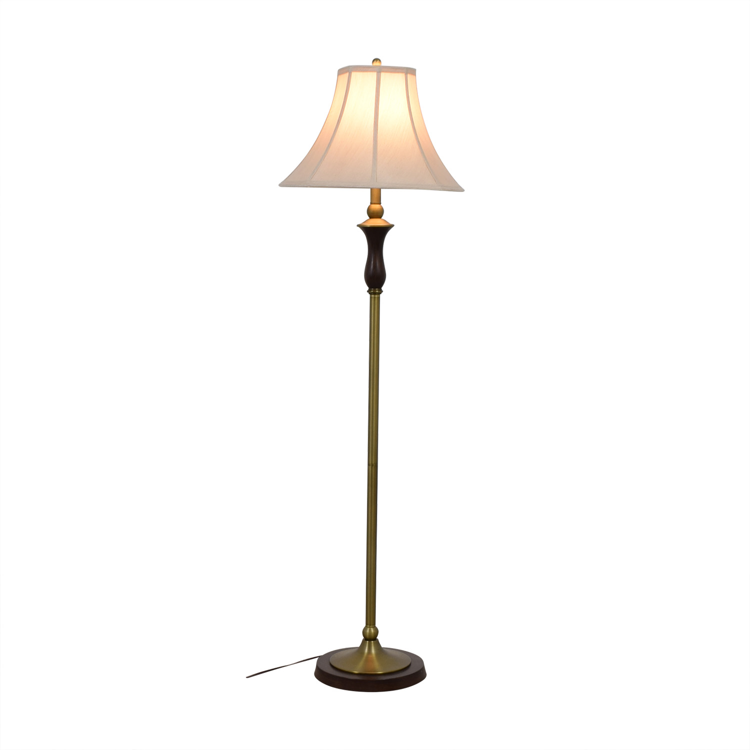 shop Crate & Barrel Wood and Brass Floor Lamp Crate & Barrel Lamps
