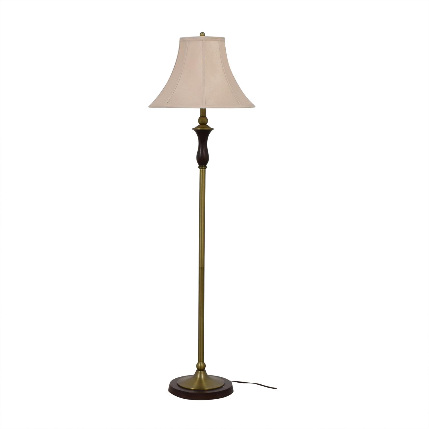 Crate & Barrel Crate & Barrel Wood and Brass Floor Lamp for sale
