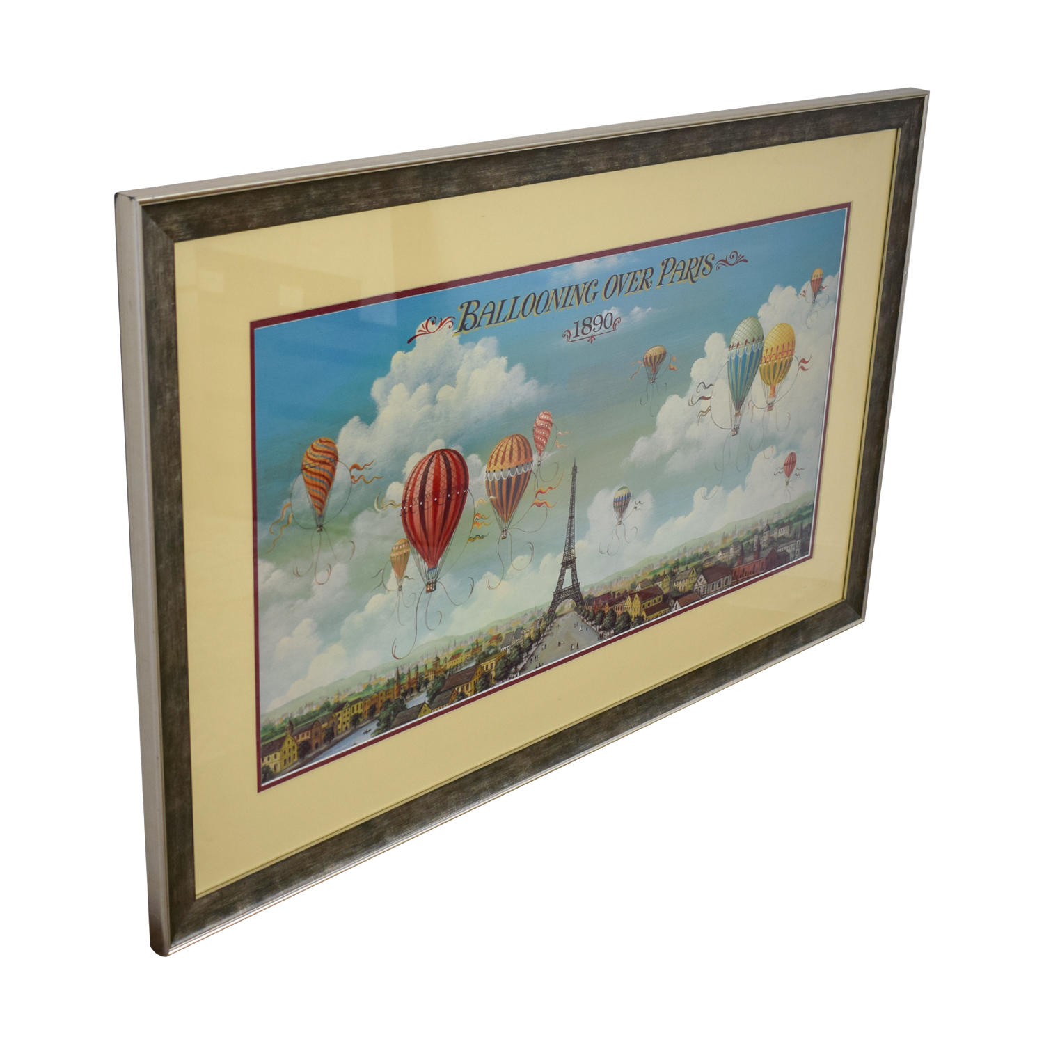 Framed Hot Air Balloon Paris Print on sale