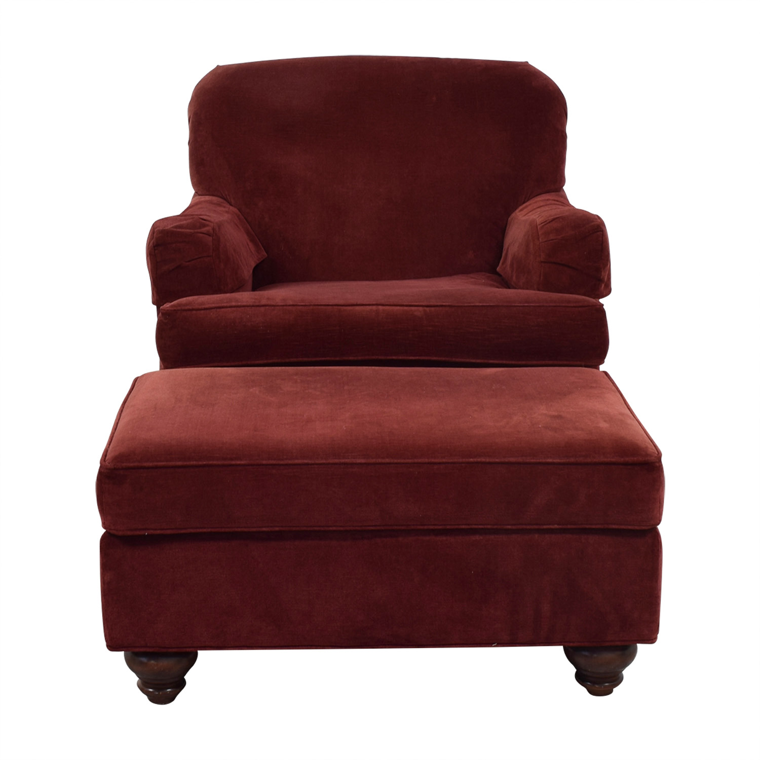 shop Ethan Allen Cherry Accent Chair and Ottoman Ethan Allen Sofas