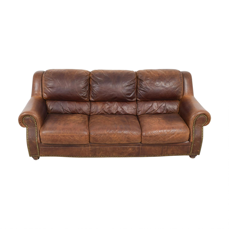 Brown Leather Nailhead Three-Cushion Sofa / Classic Sofas