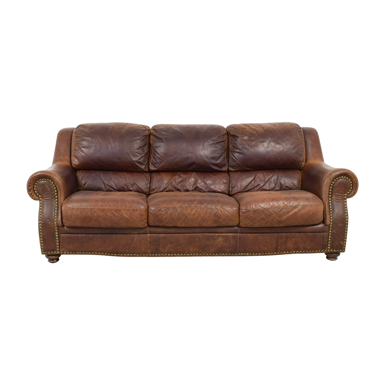 buy Brown Leather Nailhead Three-Cushion Sofa  Sofas