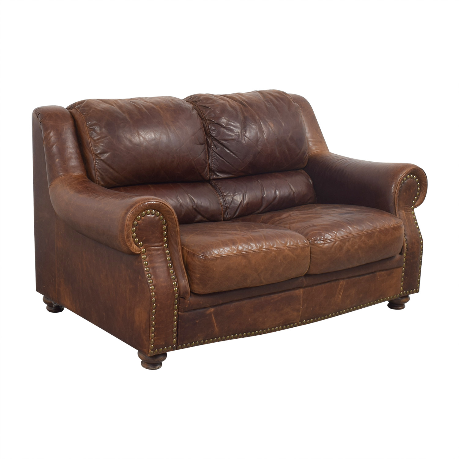 Second Hand Leather Sofas Somerset: Brown Leather Nailhead Two-Cushion Loveseat / Sofas