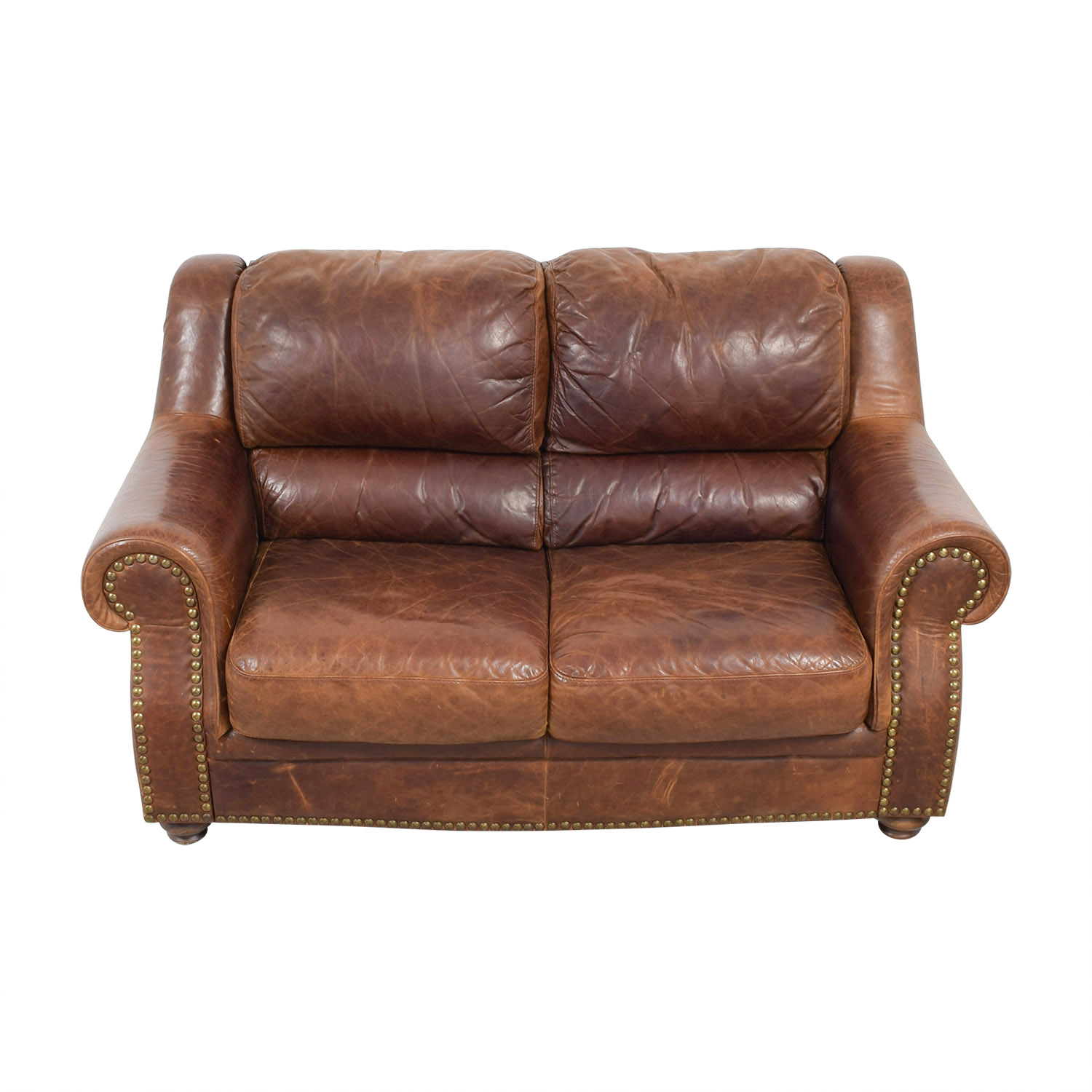 Brown Leather Nailhead Two-Cushion Loveseat sale
