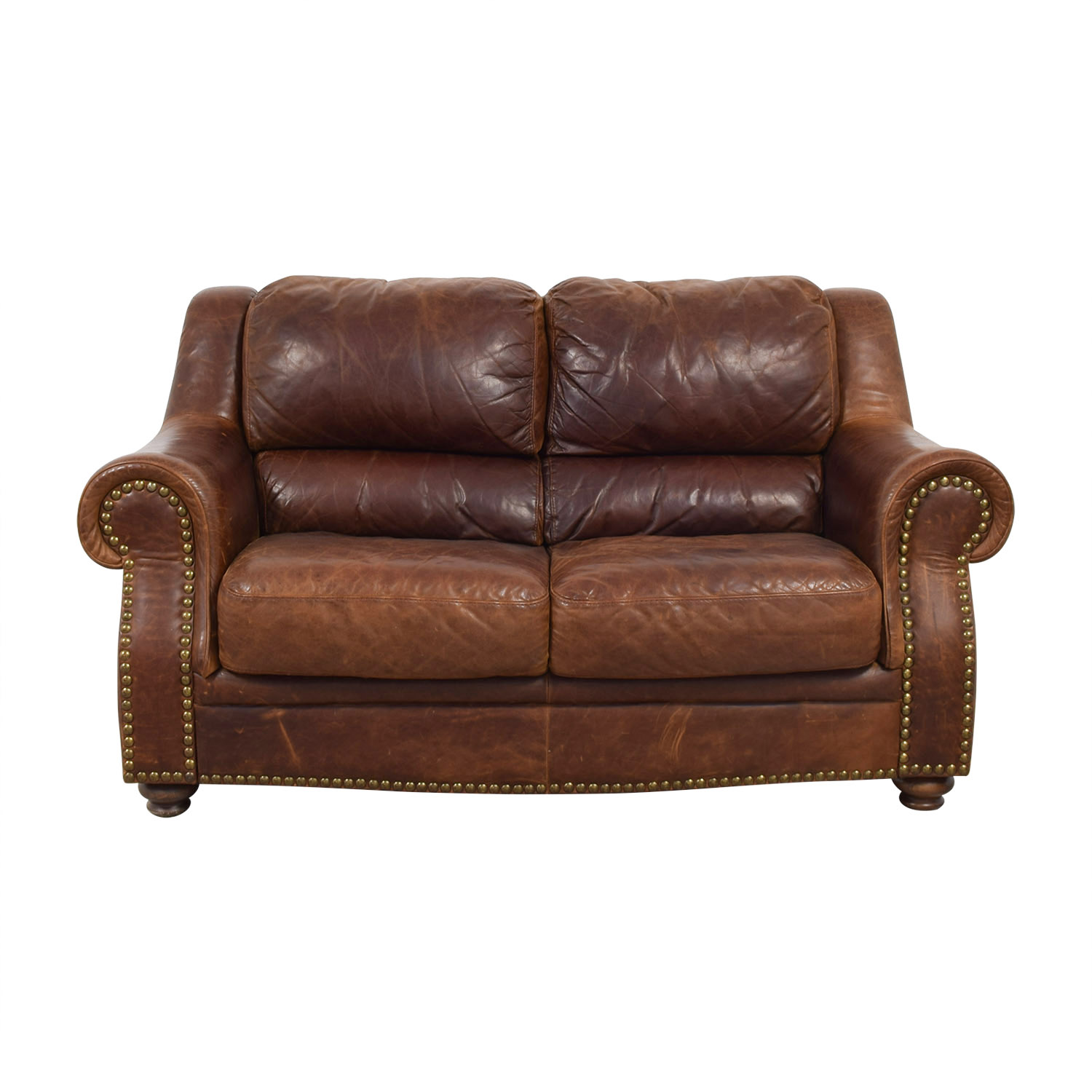Brown Leather Nailhead Two-Cushion Loveseat