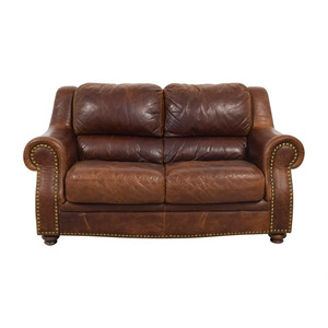 Brown Leather Nailhead Two-Cushion Loveseat price