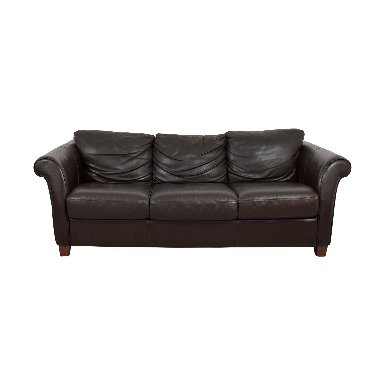 Brown Distressed Leather Three-Cushion Sofa nyc