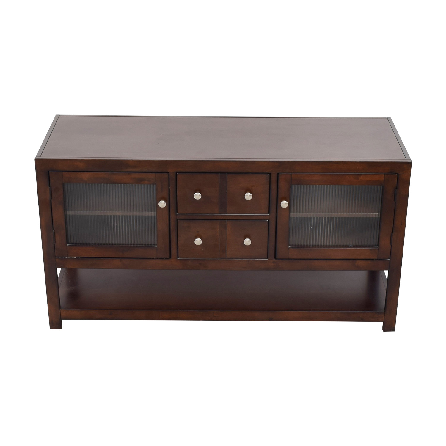 shop Raymour & Flanigan Wood and Glass TV Console Raymour & Flanigan Media Units