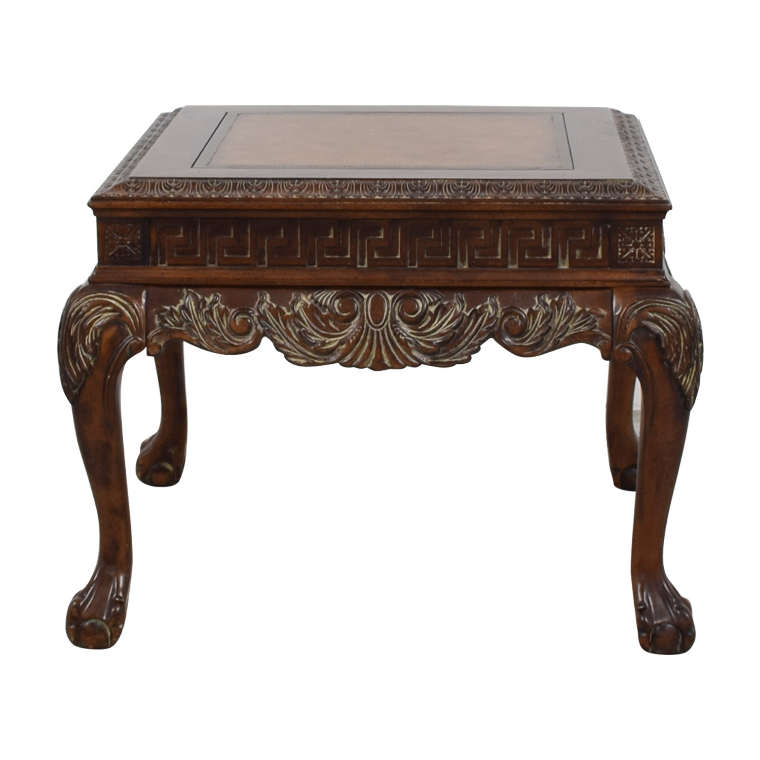 Greek Keys Distressed Wood Side Table End Tables
