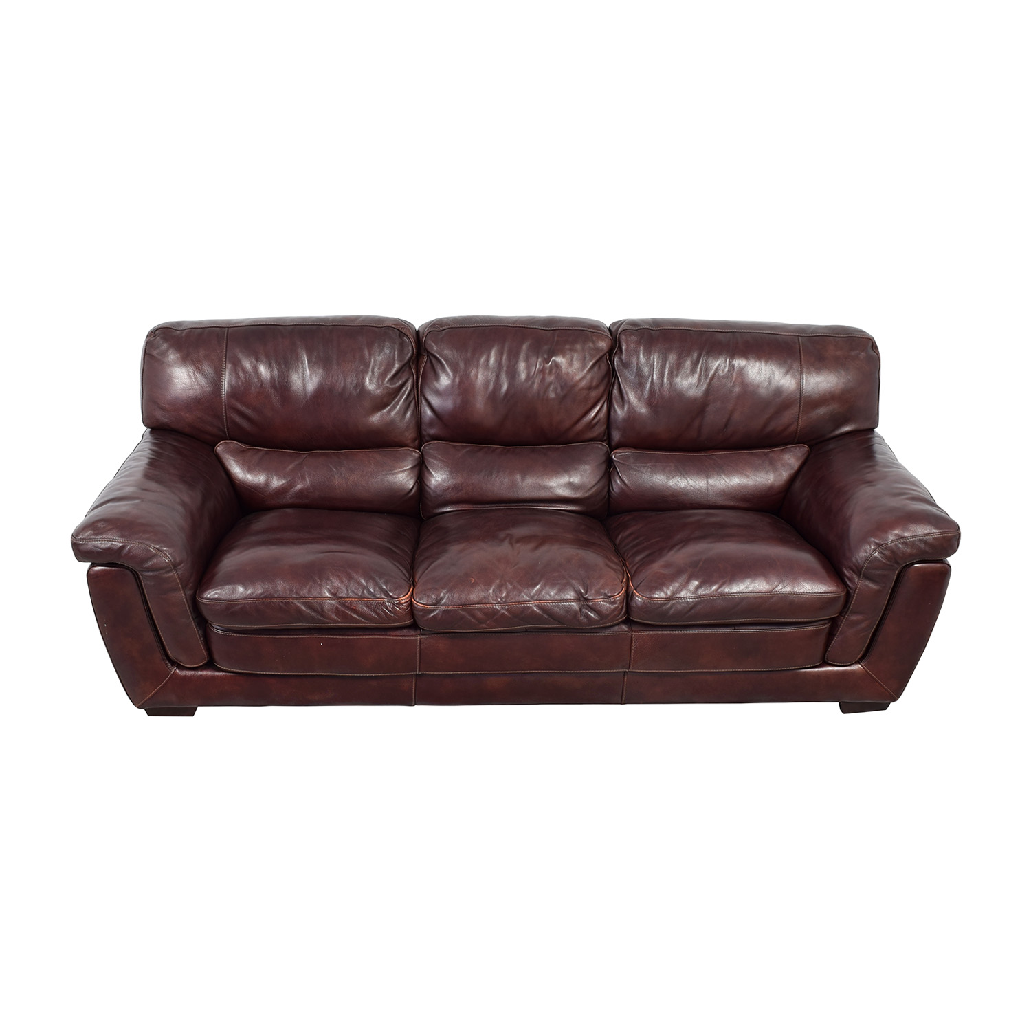 Raymour & Flanigan Raymour & Flanigan Burgundy Leather Three-Cushion Sofa on sale