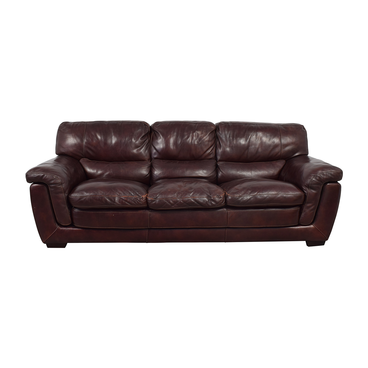 Raymour & Flanigan Raymour & Flanigan Burgundy Leather Three-Cushion Sofa price