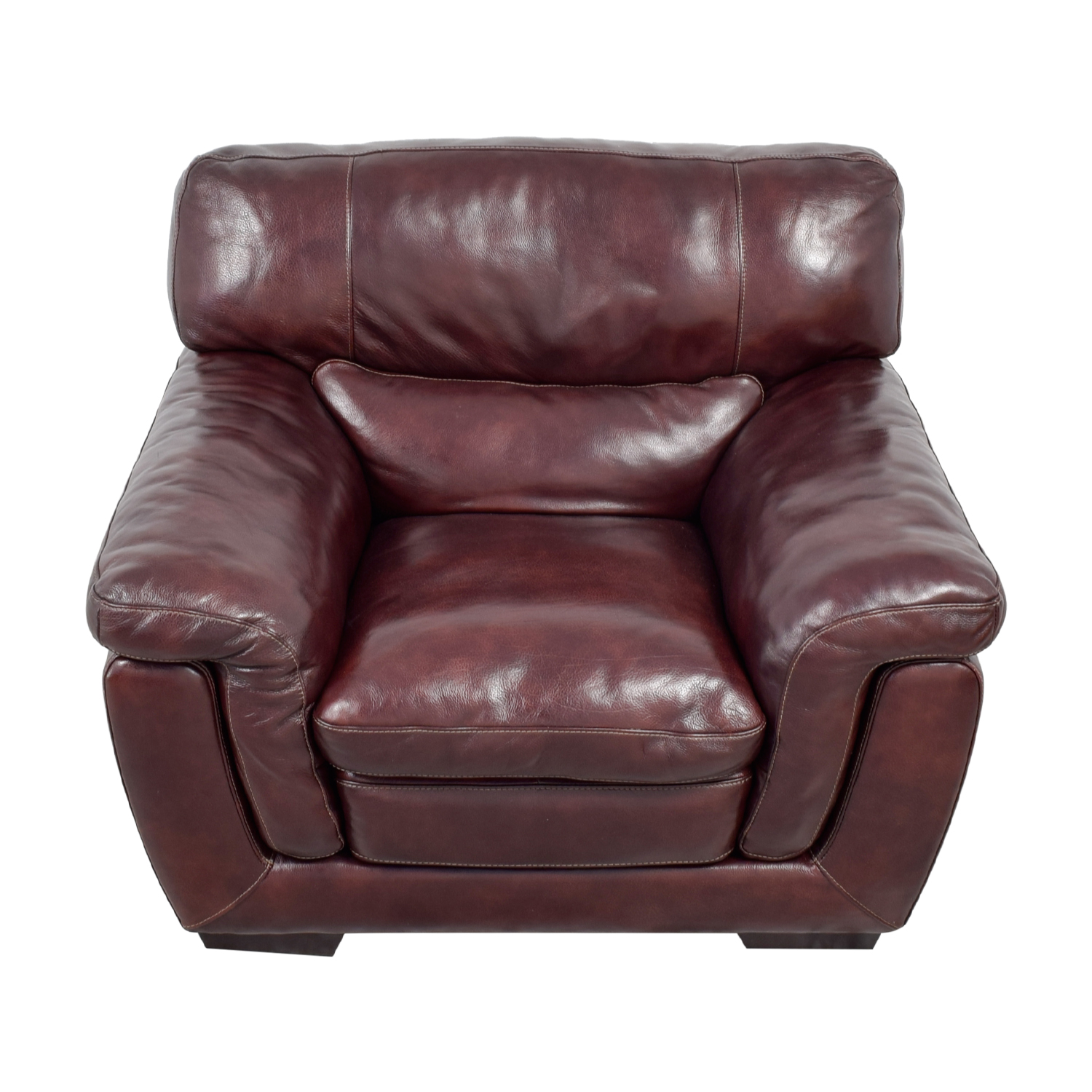 Raymour & Flanigan Raymour & Flanigan Burgundy Leather Accent Chair