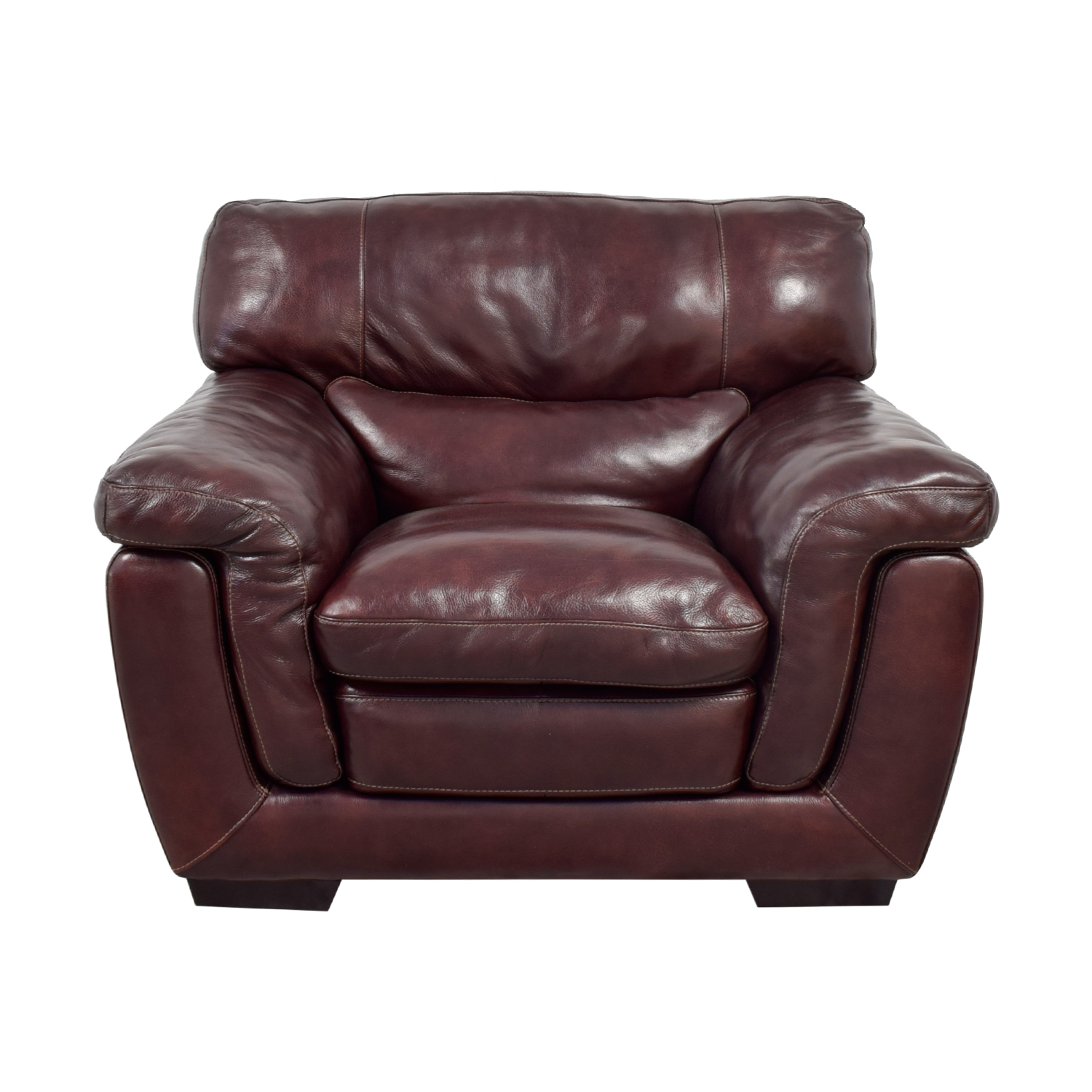 Raymour & Flanigan Raymour & Flanigan Burgundy Leather Accent Chair Dark Cherry