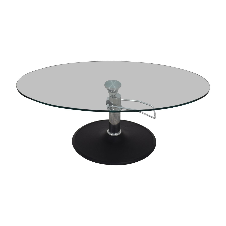 shop Hydra Designs Oval Adjustable Glass Coffee Table Hydra Designs