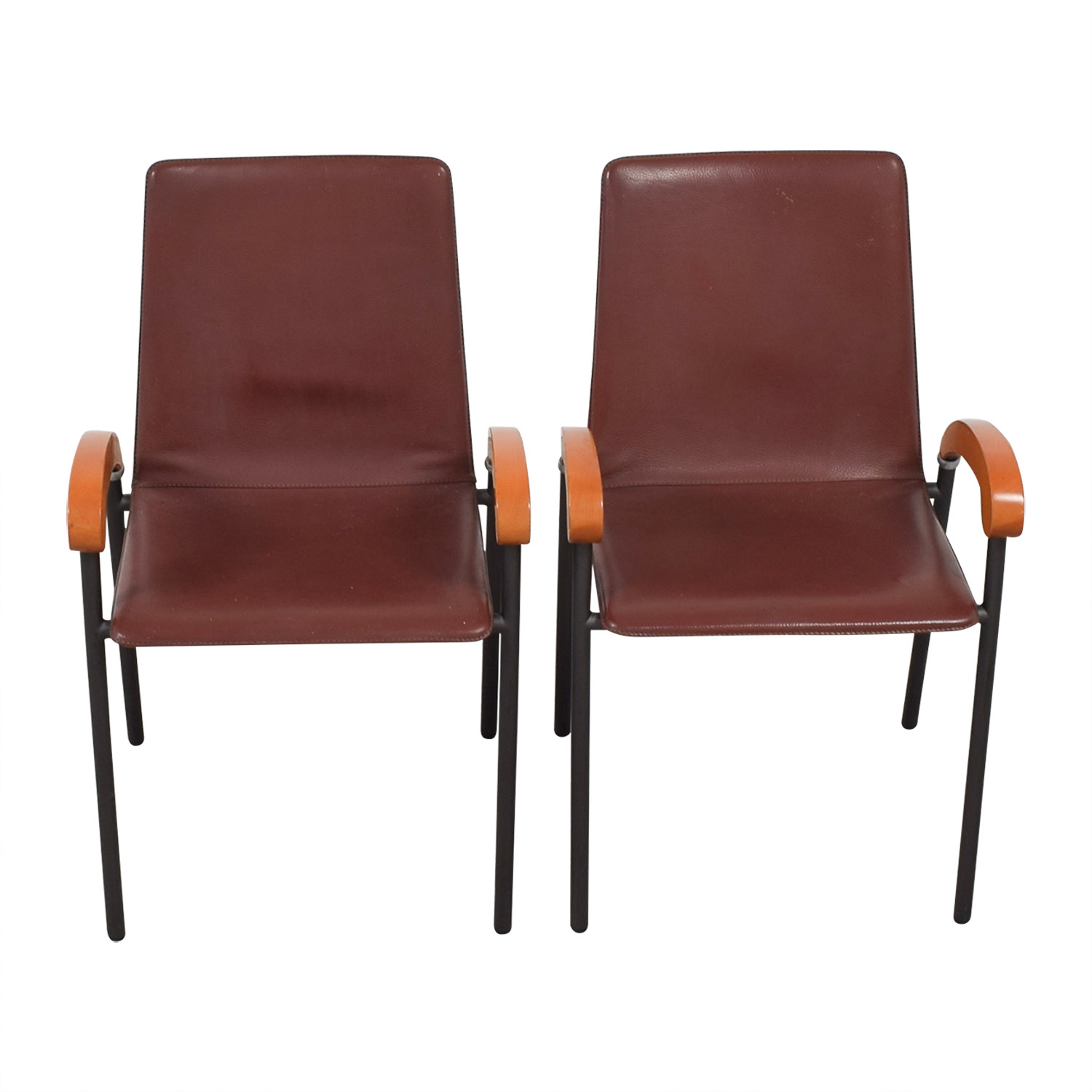 Italian Brown Leather and Cherry Wood Dining Chairs dimensions