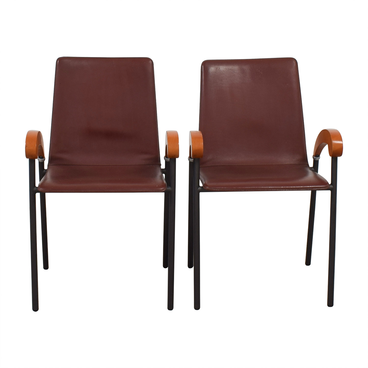 Italian Brown Leather and Cherry Wood Dining Chairs used
