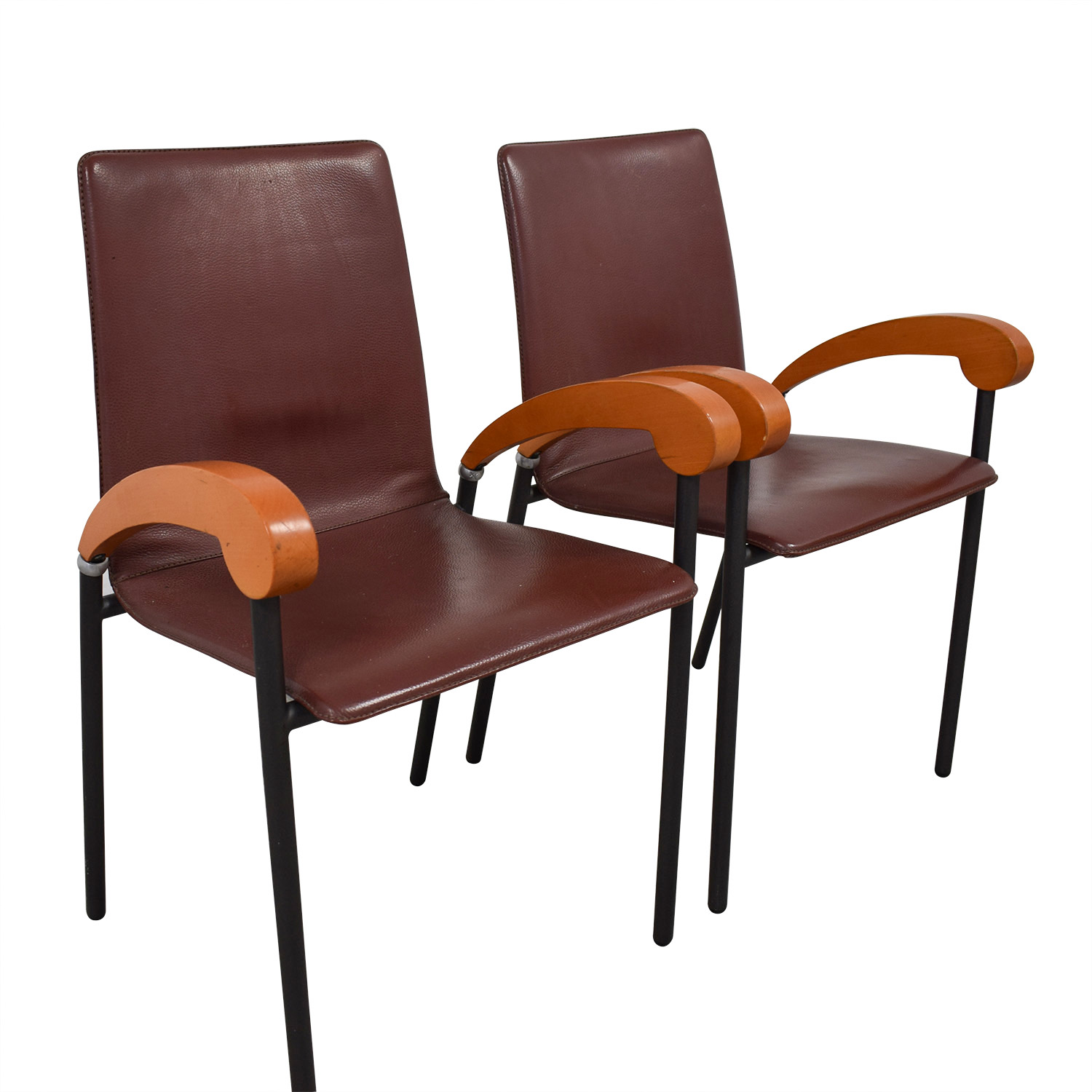 ... Italian Brown Leather And Cherry Wood Dining Chairs Nj ...