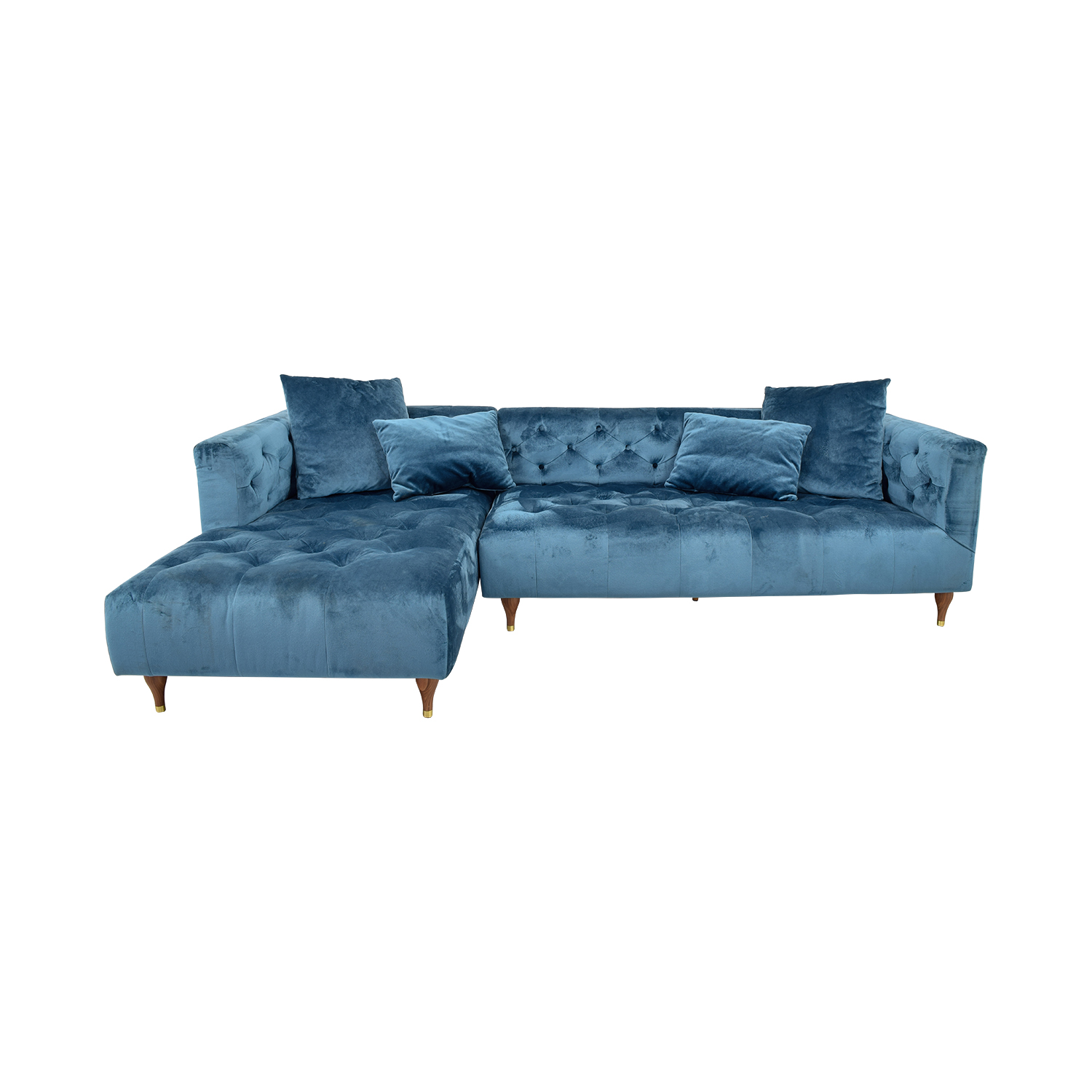 Buy Ms Chesterfield Blue Tufted Left Chaise Sectional Sectionals
