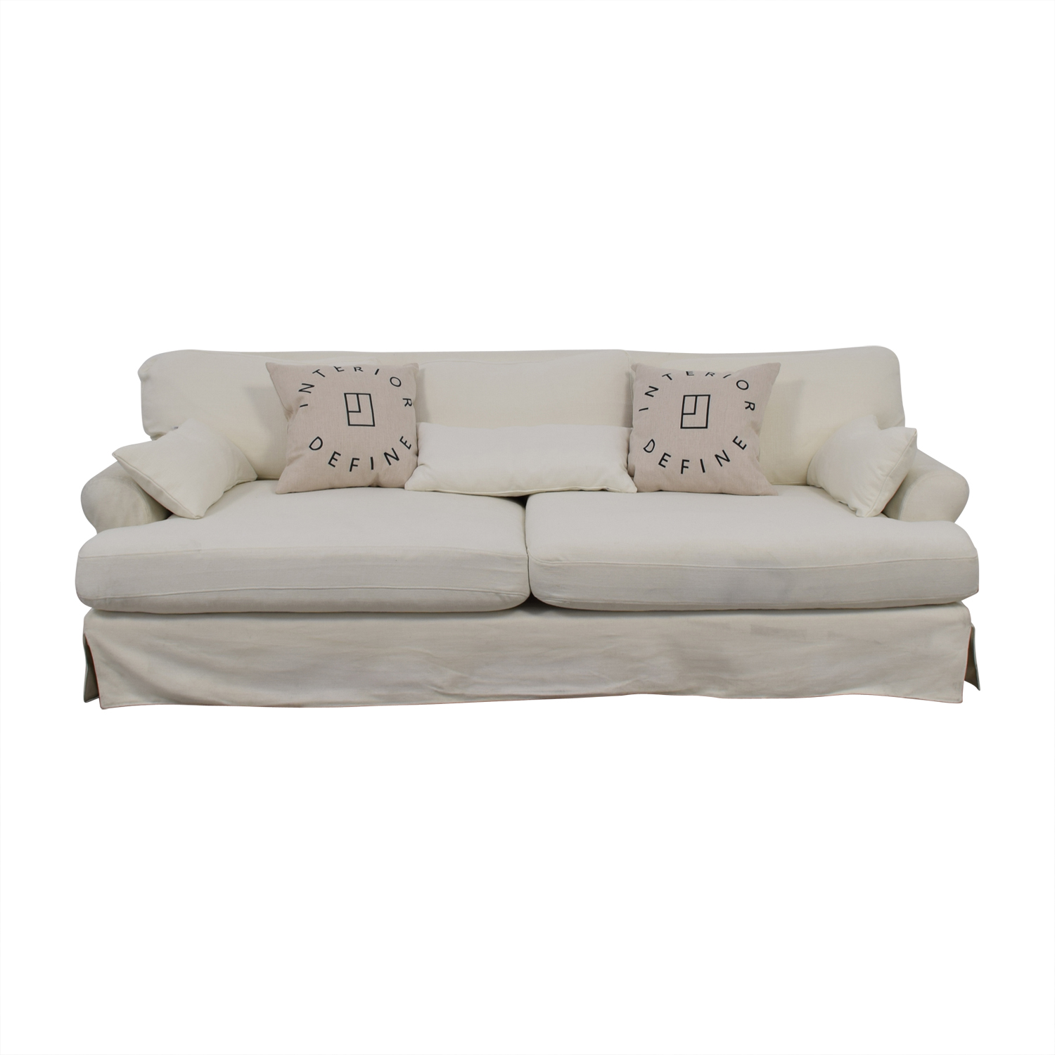 79 Off Maxwell White Slipcovered Sofa Sofas