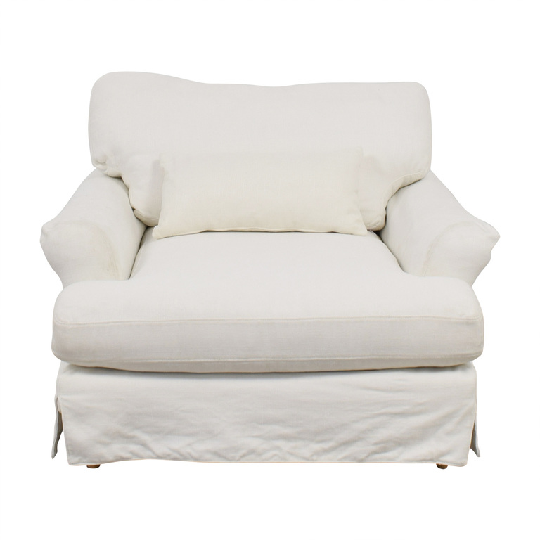 Interior Define Maxwell White Slipcovered Accent Chair nj