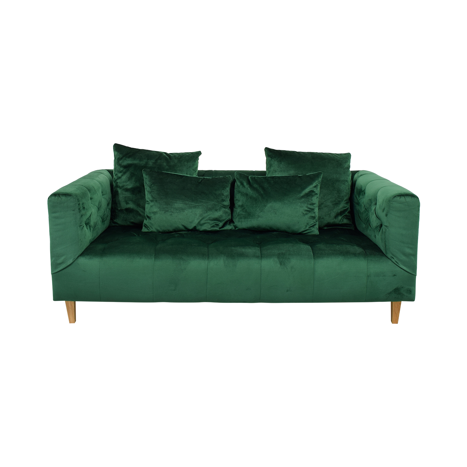 Ms Chesterfield Green Tufted Sofa Used