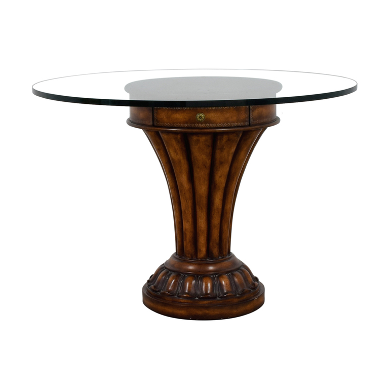 Glass Top and Wood Pedestal Dining Table with Drawer Tables