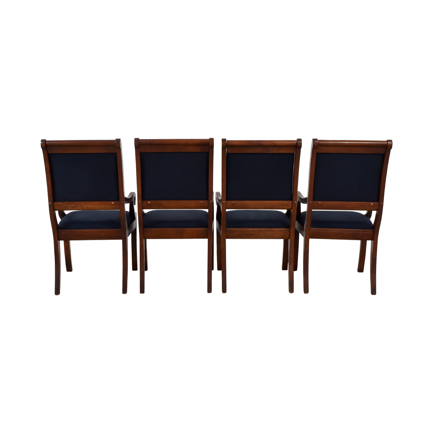 Wood and Blue Upholstered Dining Chairs price