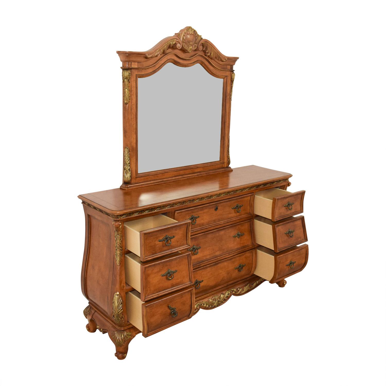 Raymour & Flanigan Nine-Drawer Dresser and Mirror Raymour & Flanigan