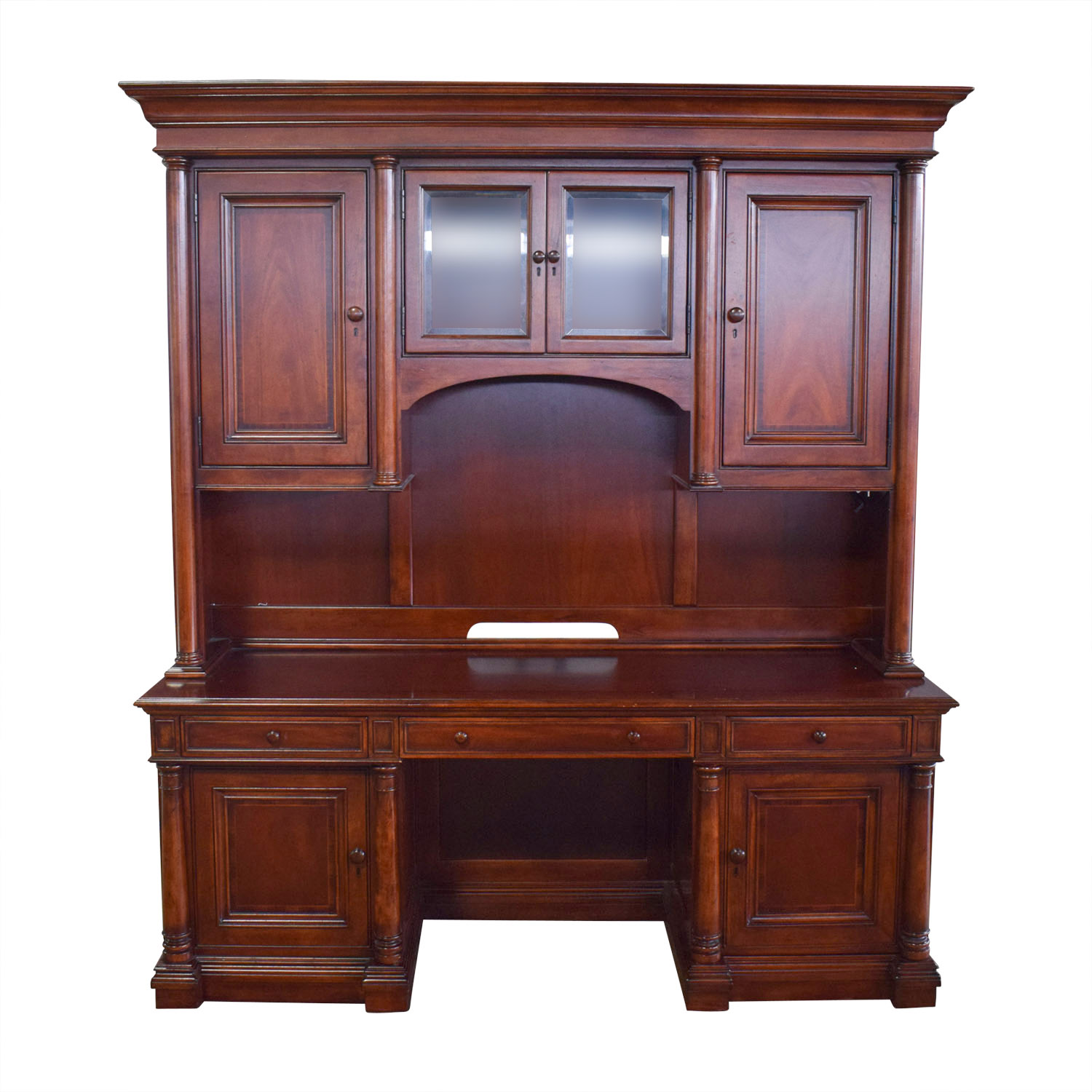 Thomasville Thomasville Computer Credenza and Hutch Dark Cherry