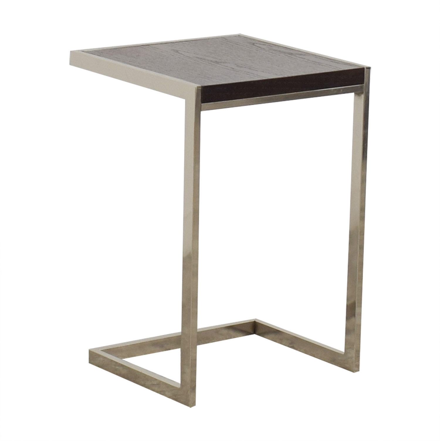 best website b2664 d2e9a 56% OFF - West Elm West Elm C-Shaped Wood and Chrome Side Table / Tables