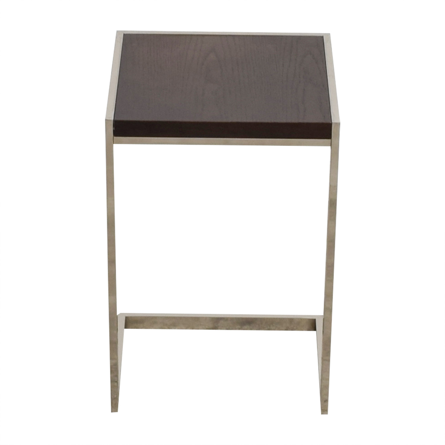 West Elm C-Shaped Wood and Chrome Side Table / Tables