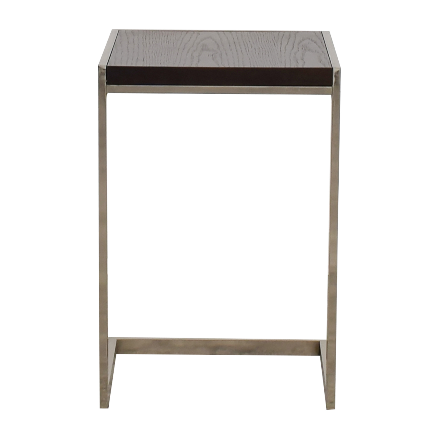 buy West Elm C-Shaped Wood and Chrome Side Table West Elm End Tables