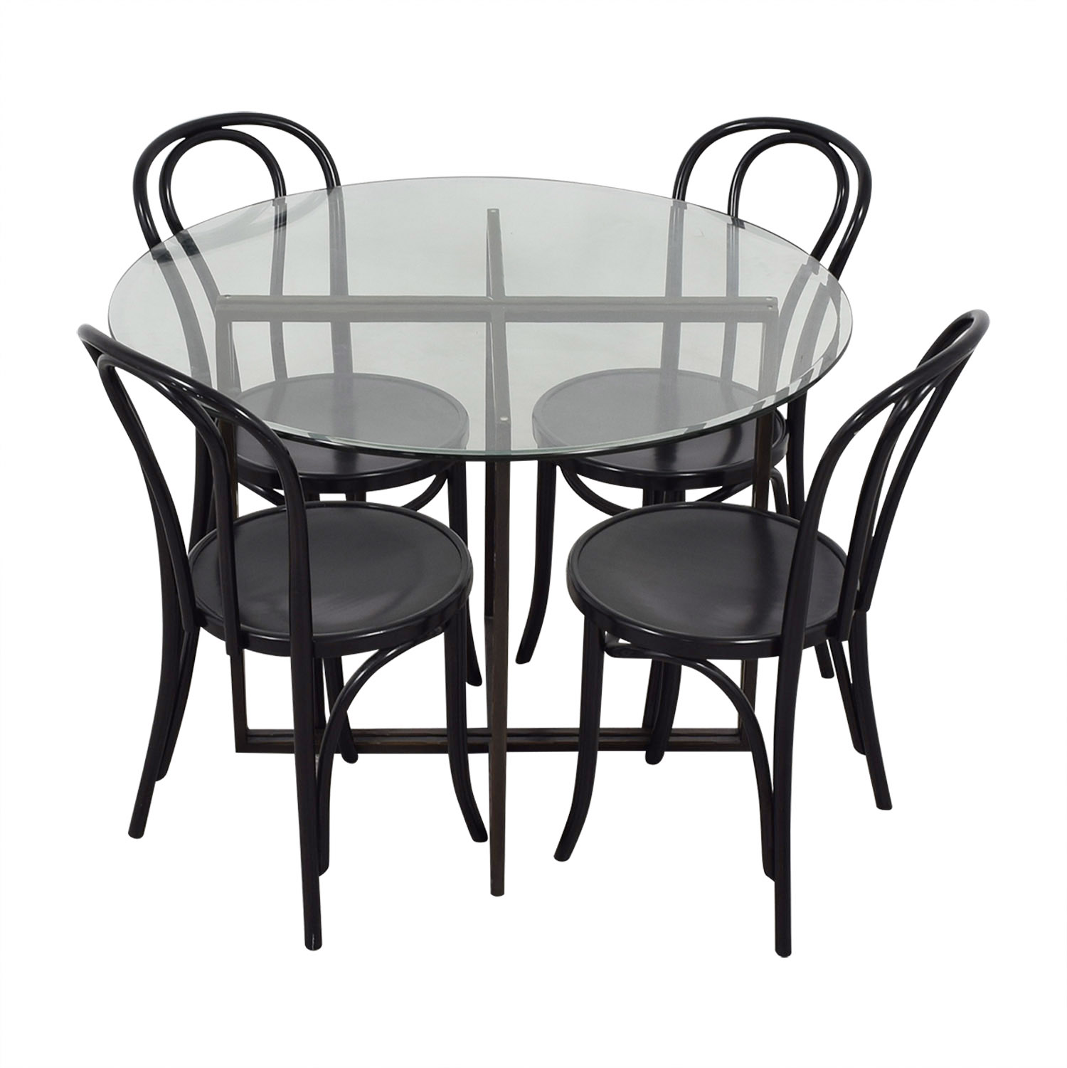 Round Glass and Wood Dining Table Set