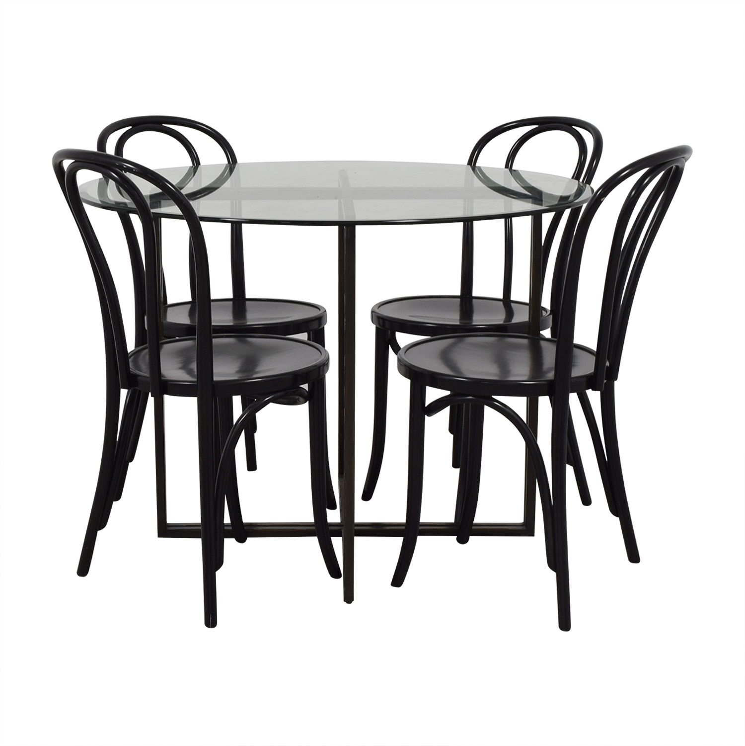 shop Round Glass and Wood Dining Table Set